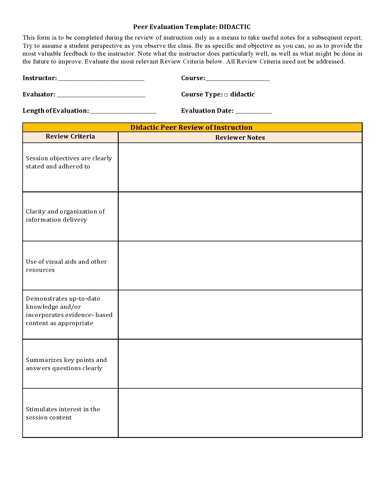 Free peer evaluation form 10