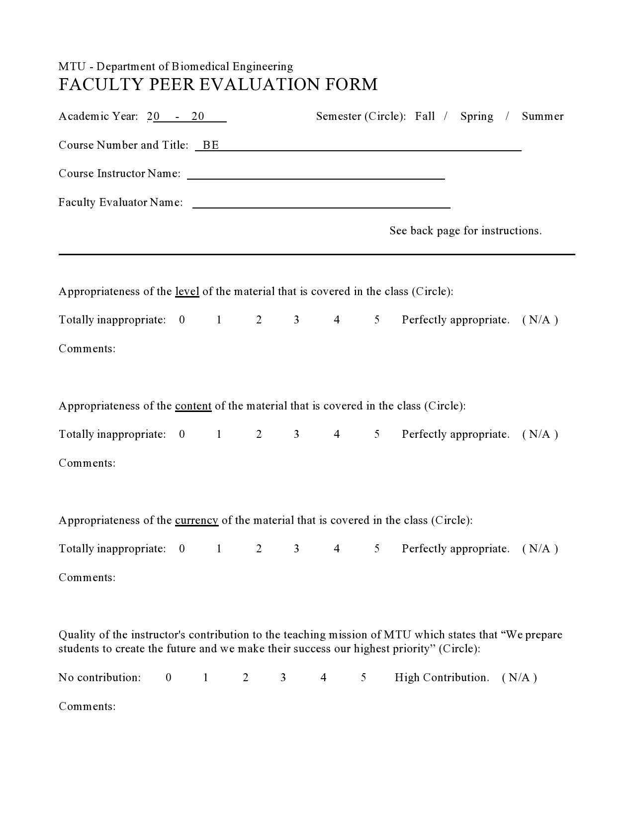 Free peer evaluation form 12