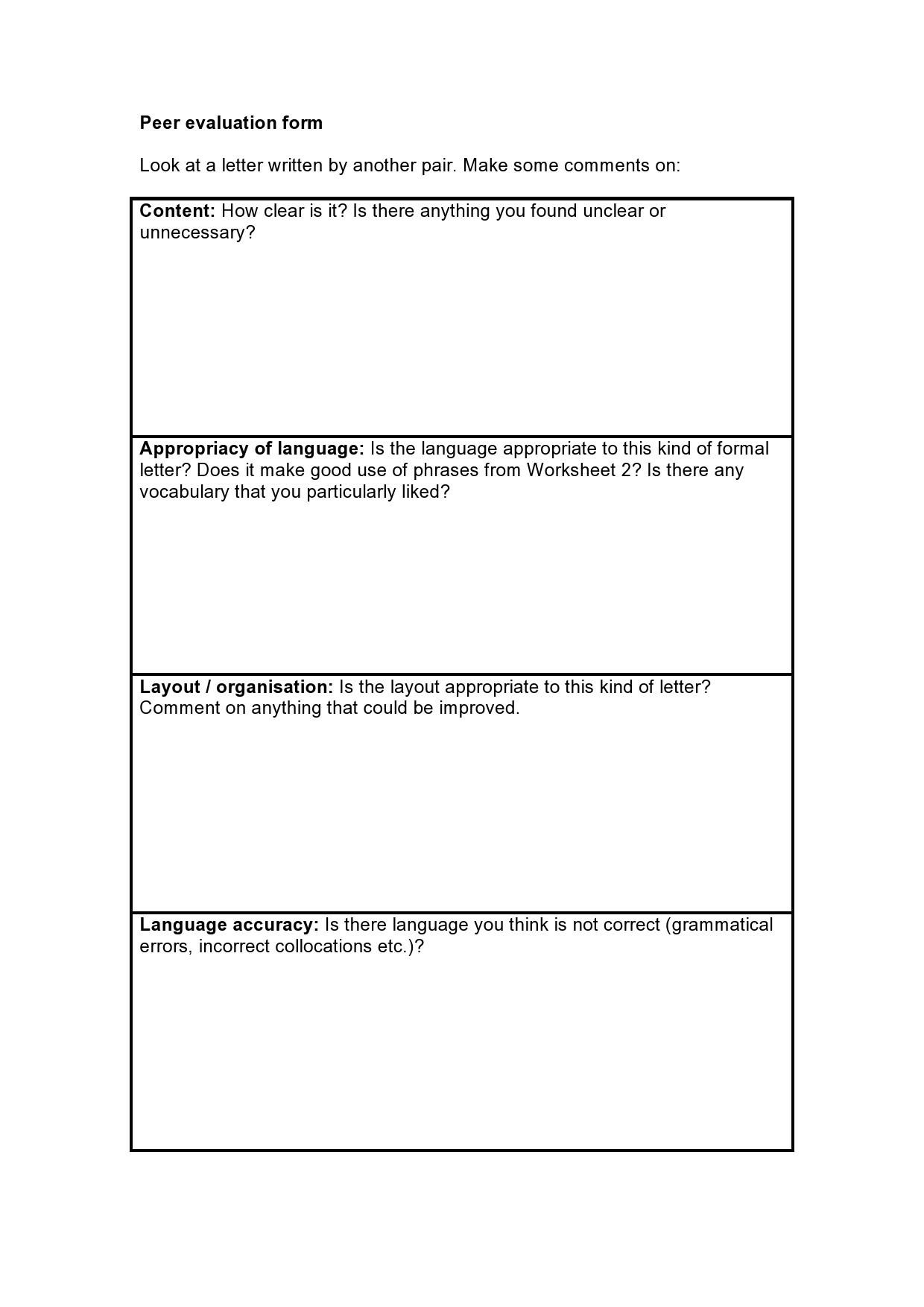Free peer evaluation form 13