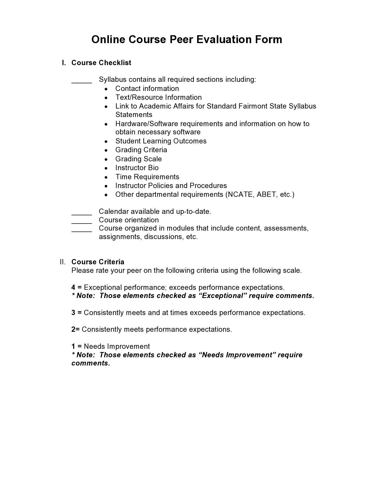 Free peer evaluation form 16