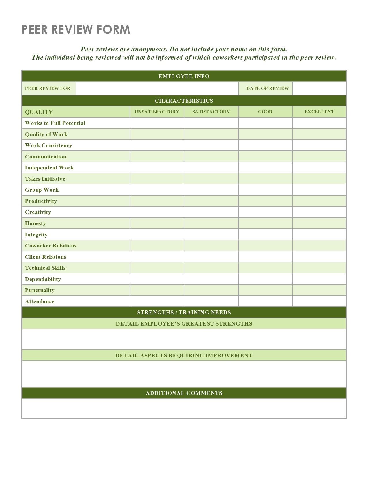 Free peer evaluation form 18