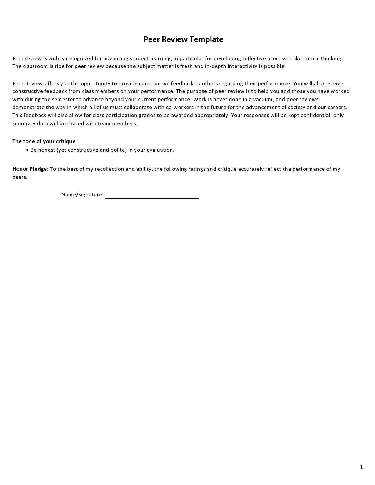Free peer evaluation form 19