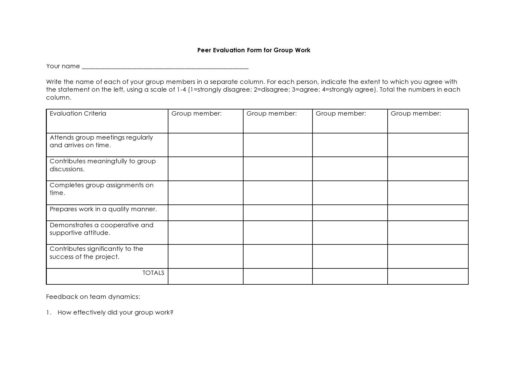 Free peer evaluation form 21