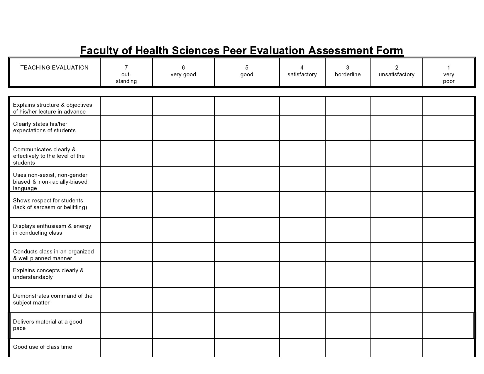 Free peer evaluation form 28