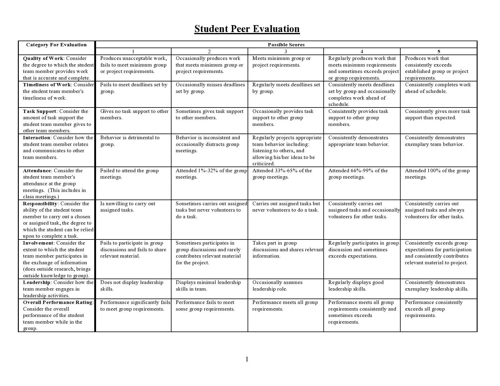 Free peer evaluation form 30
