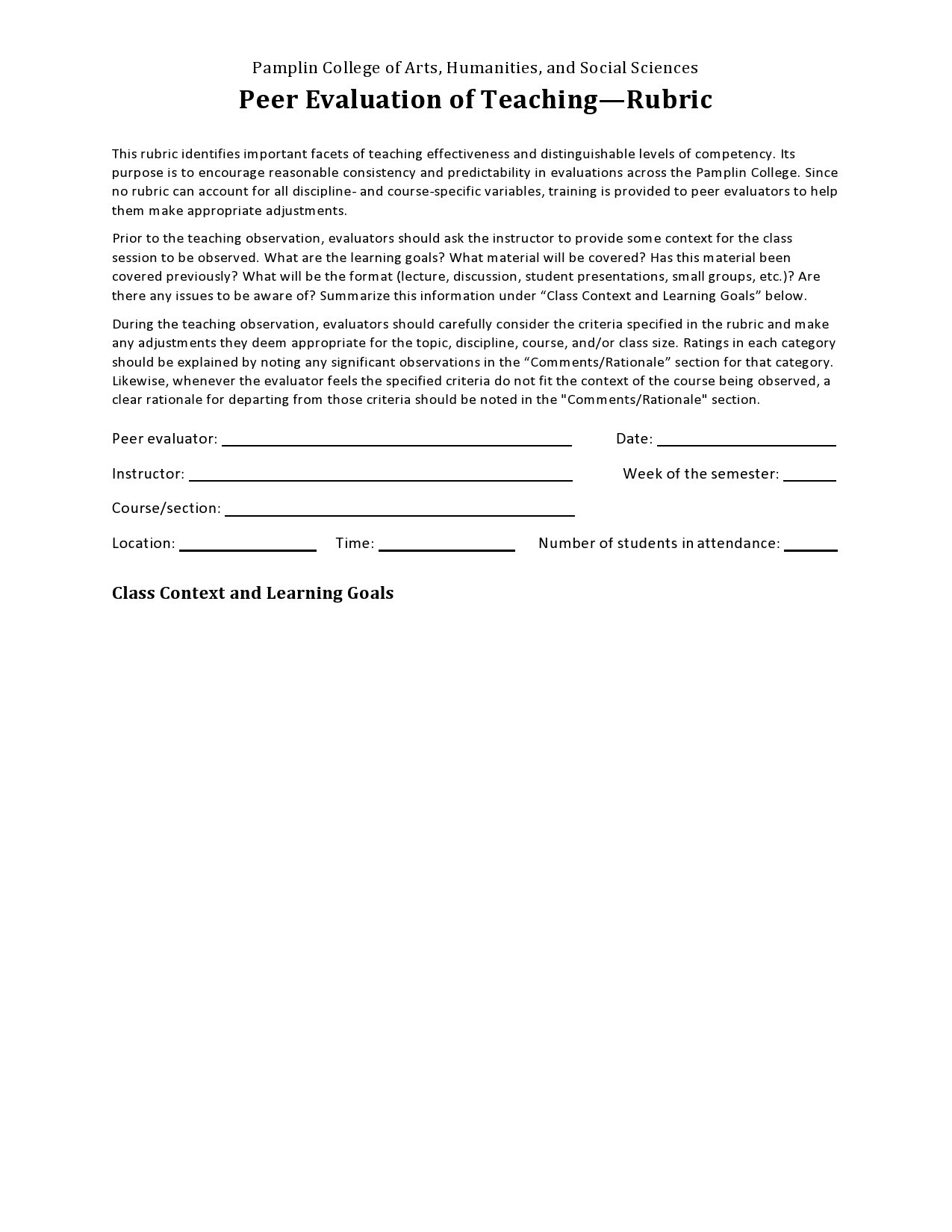 Free peer evaluation form 32