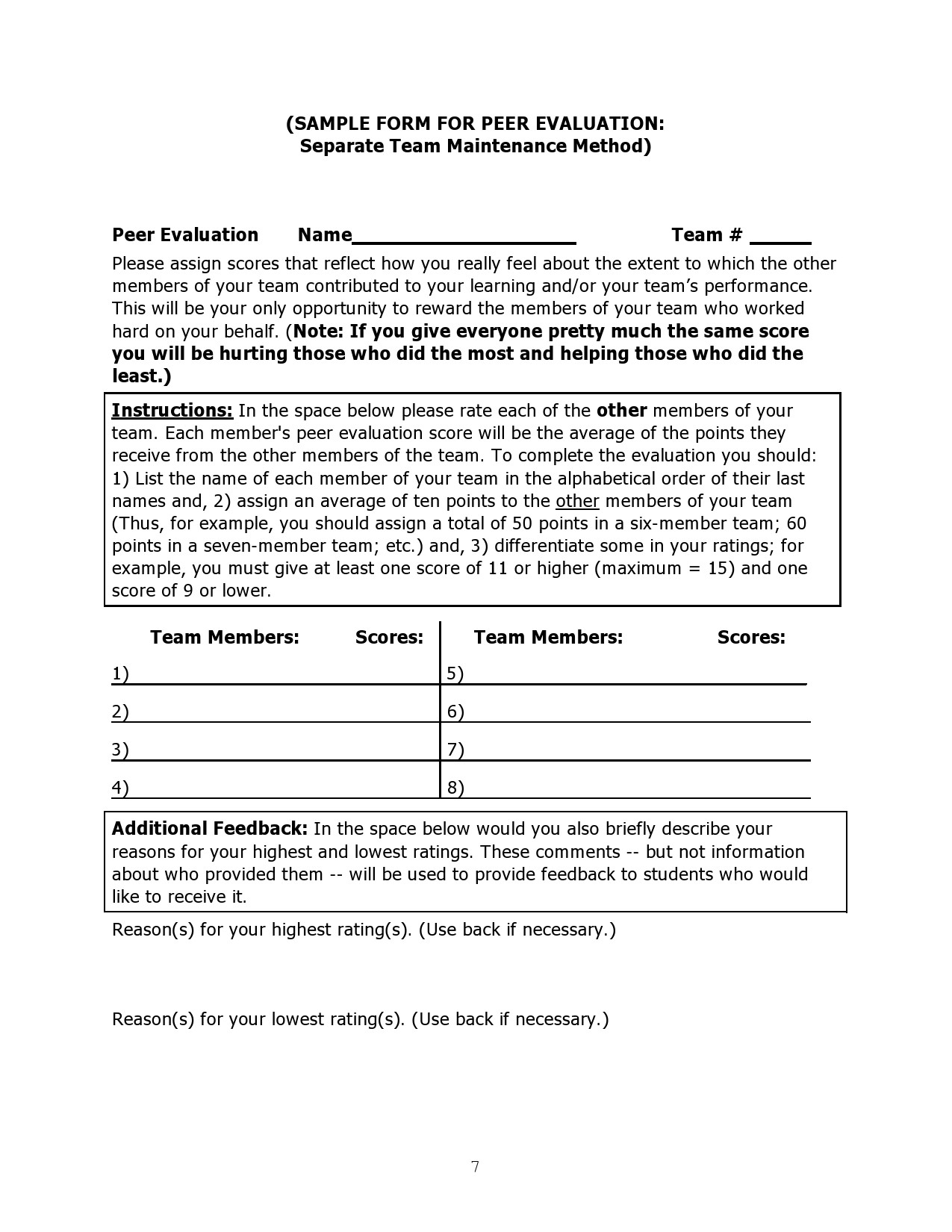 Free peer evaluation form 33