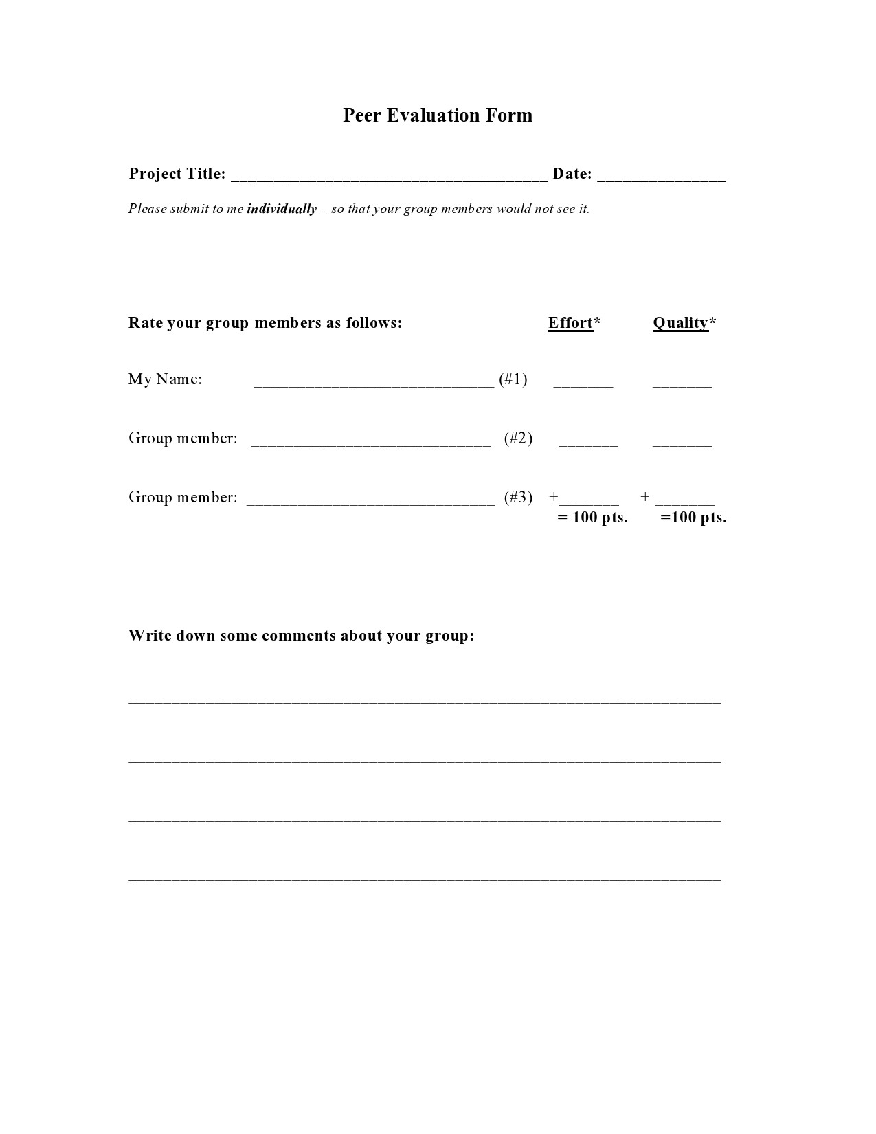 Free peer evaluation form 34