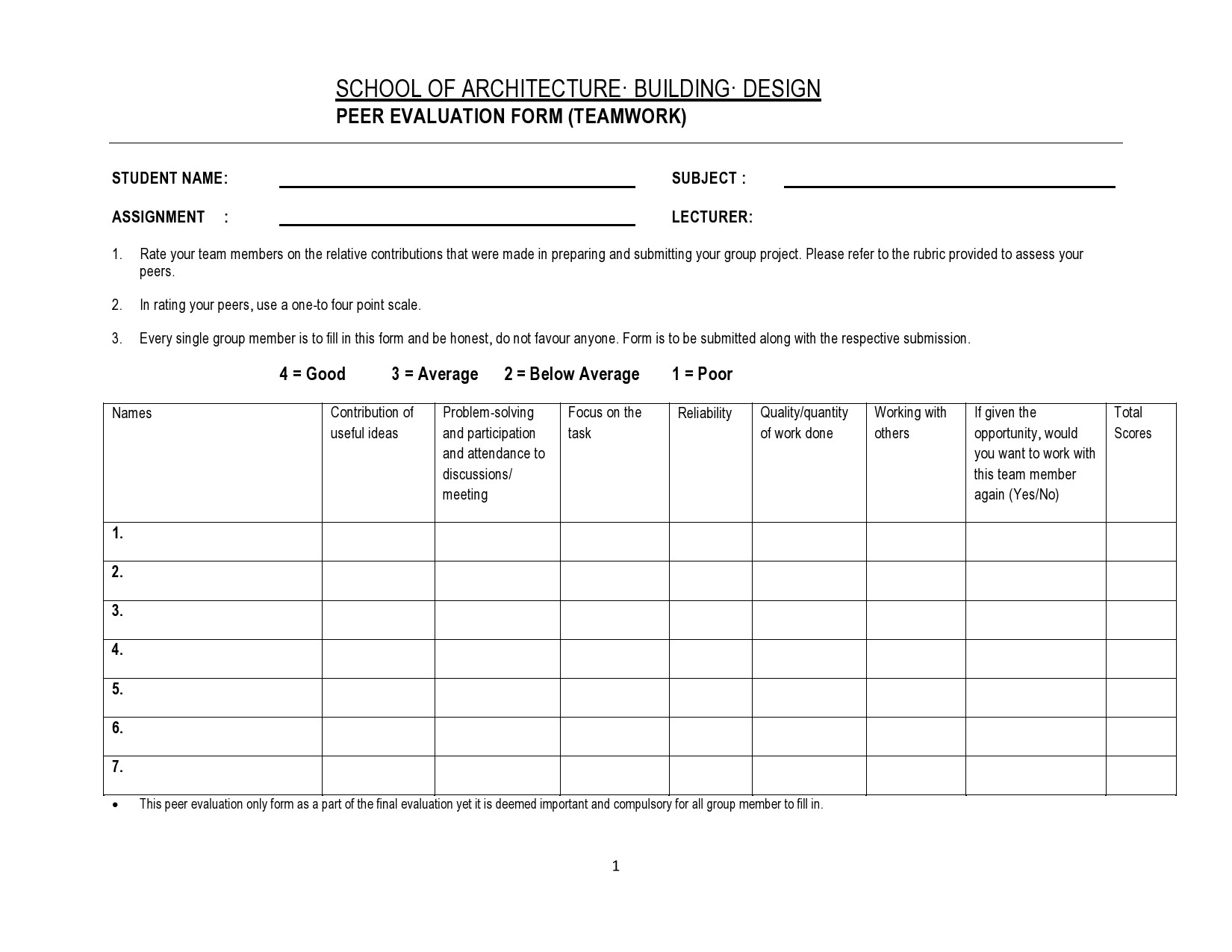 Free peer evaluation form 35