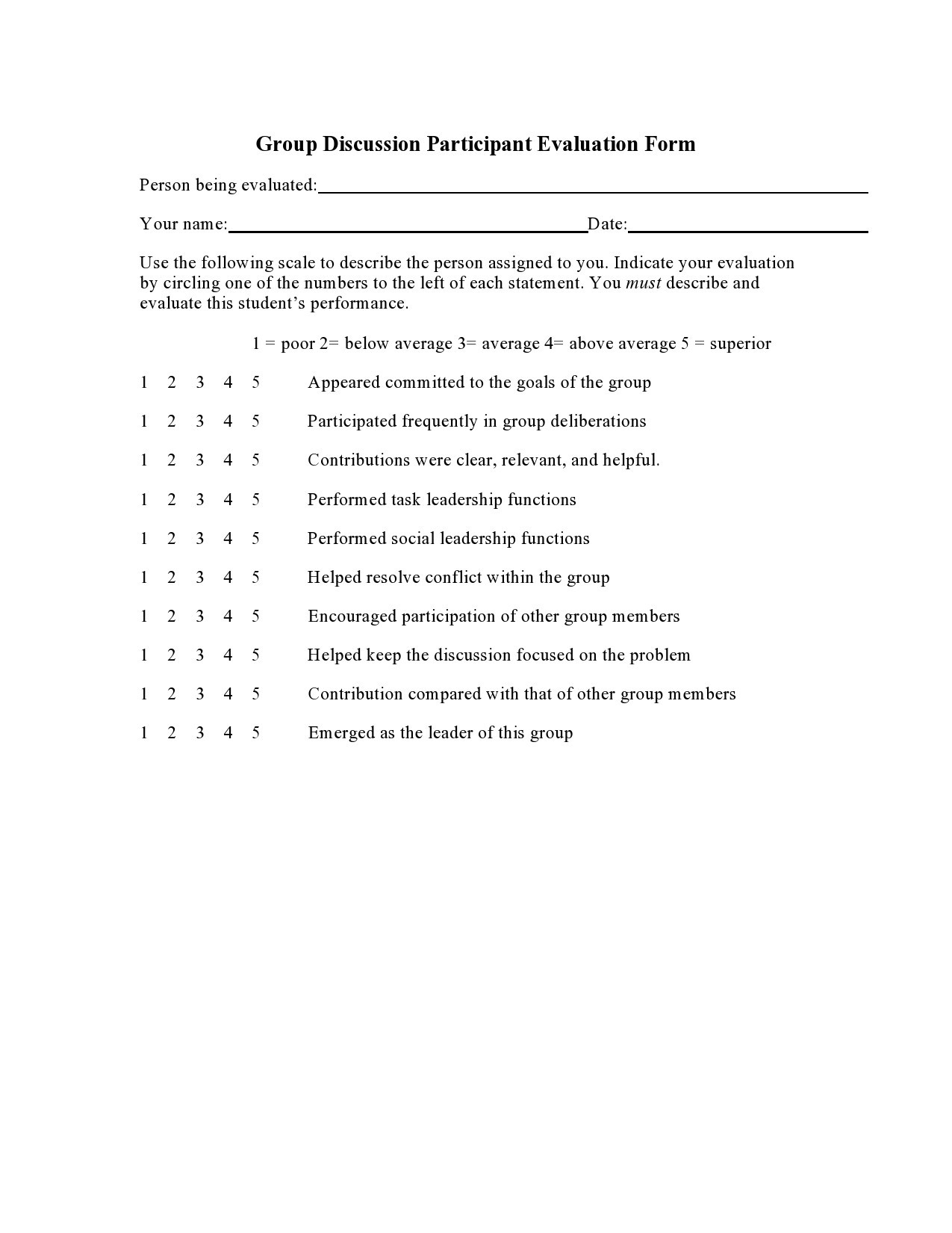 Free peer evaluation form 43