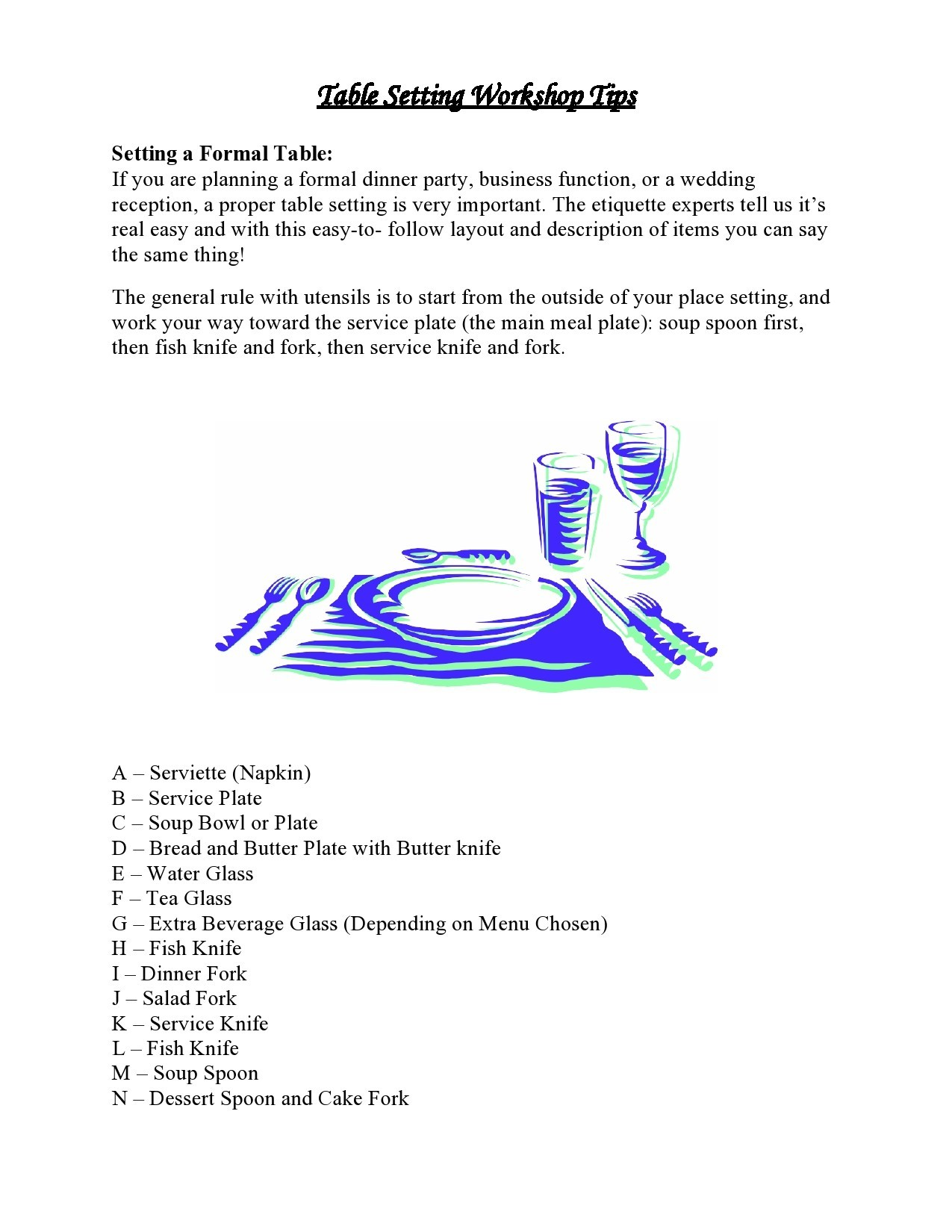 Free place setting template 10