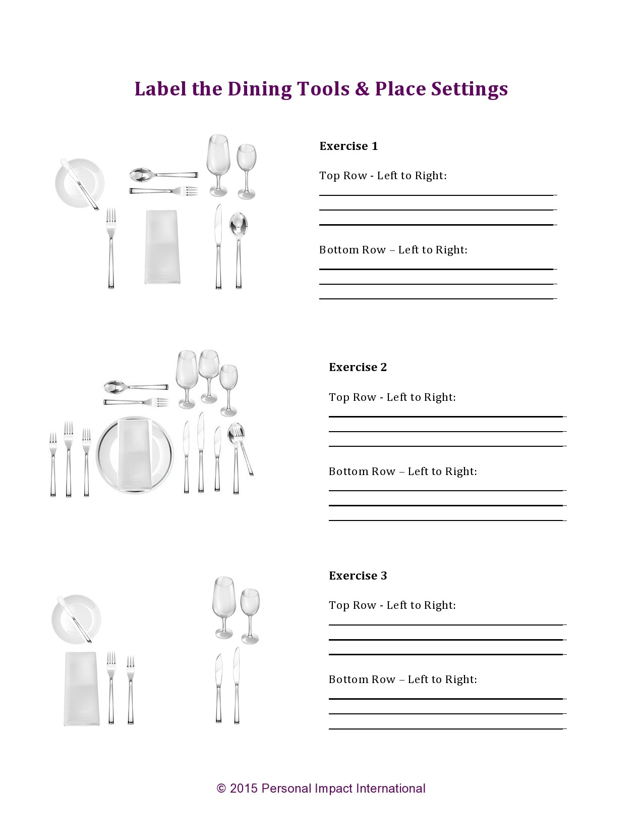 Free place setting template 18