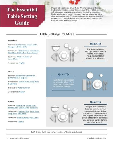 Place Setting Templates