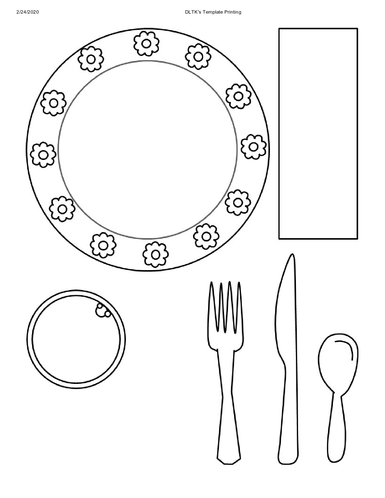 Free place setting template 36