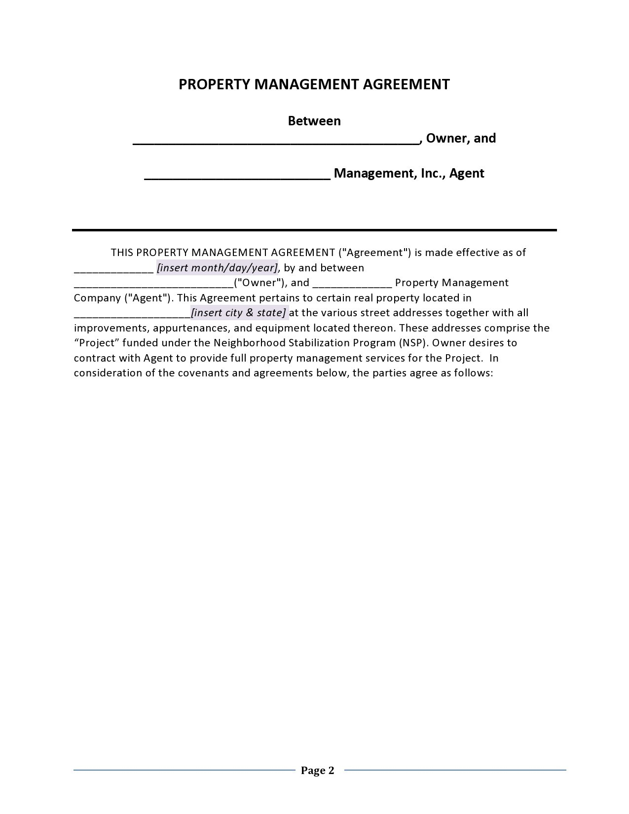 Free property management agreement 02