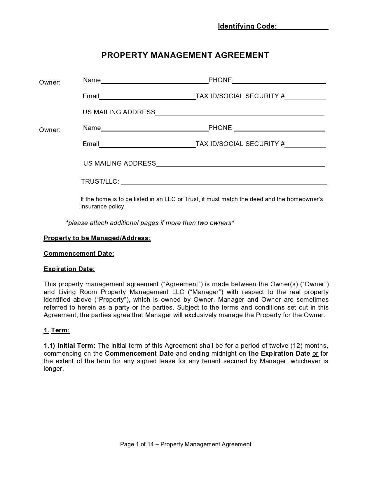 Free property management agreement 03