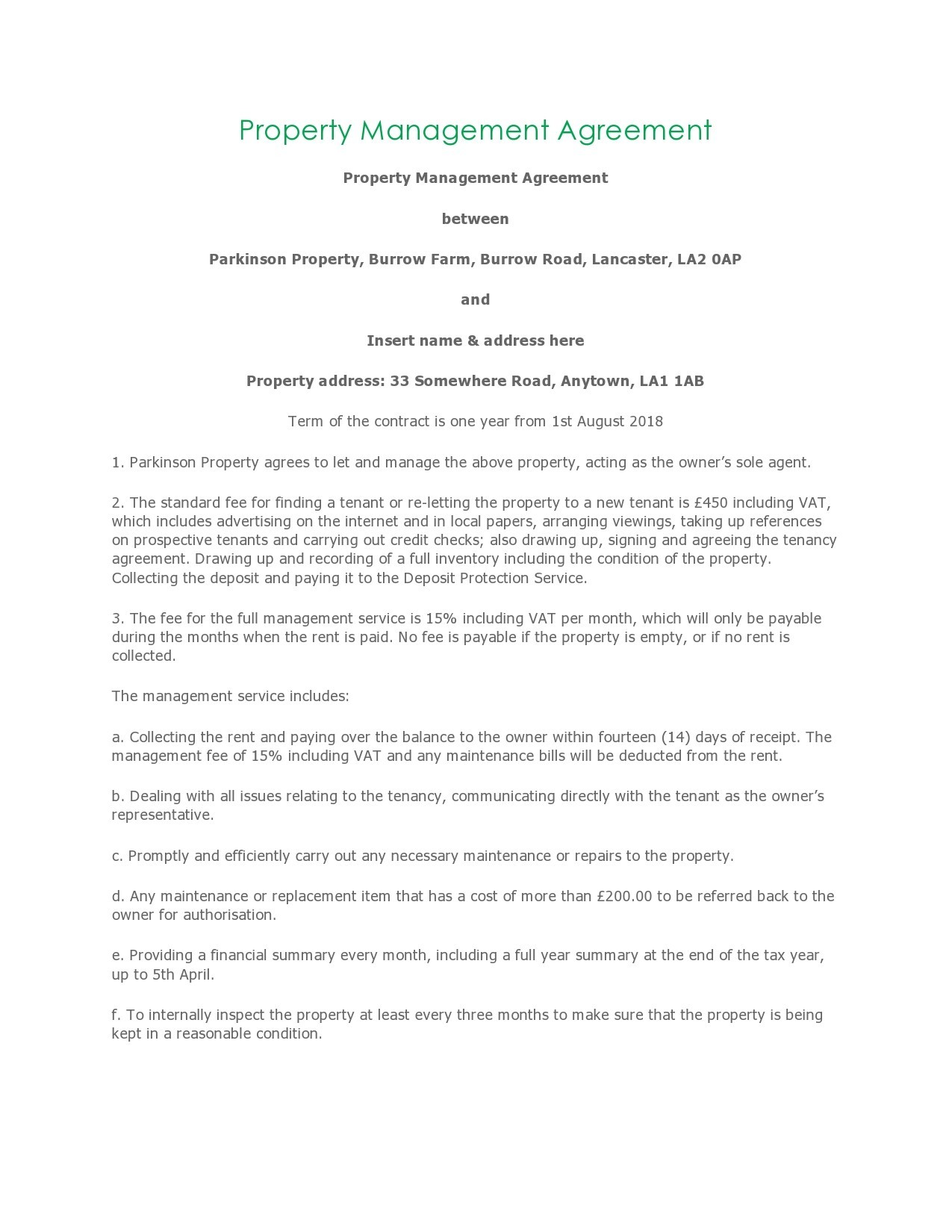 Free property management agreement 05
