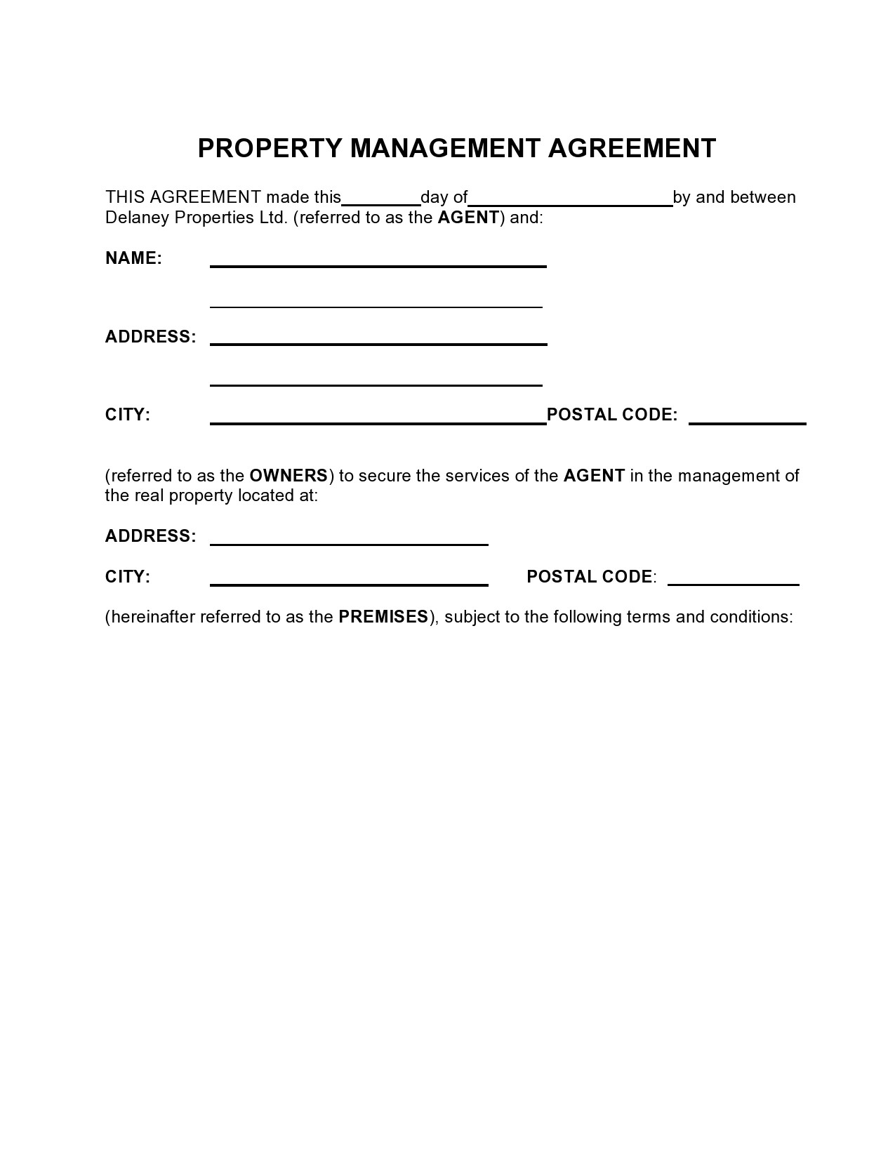Free property management agreement 07