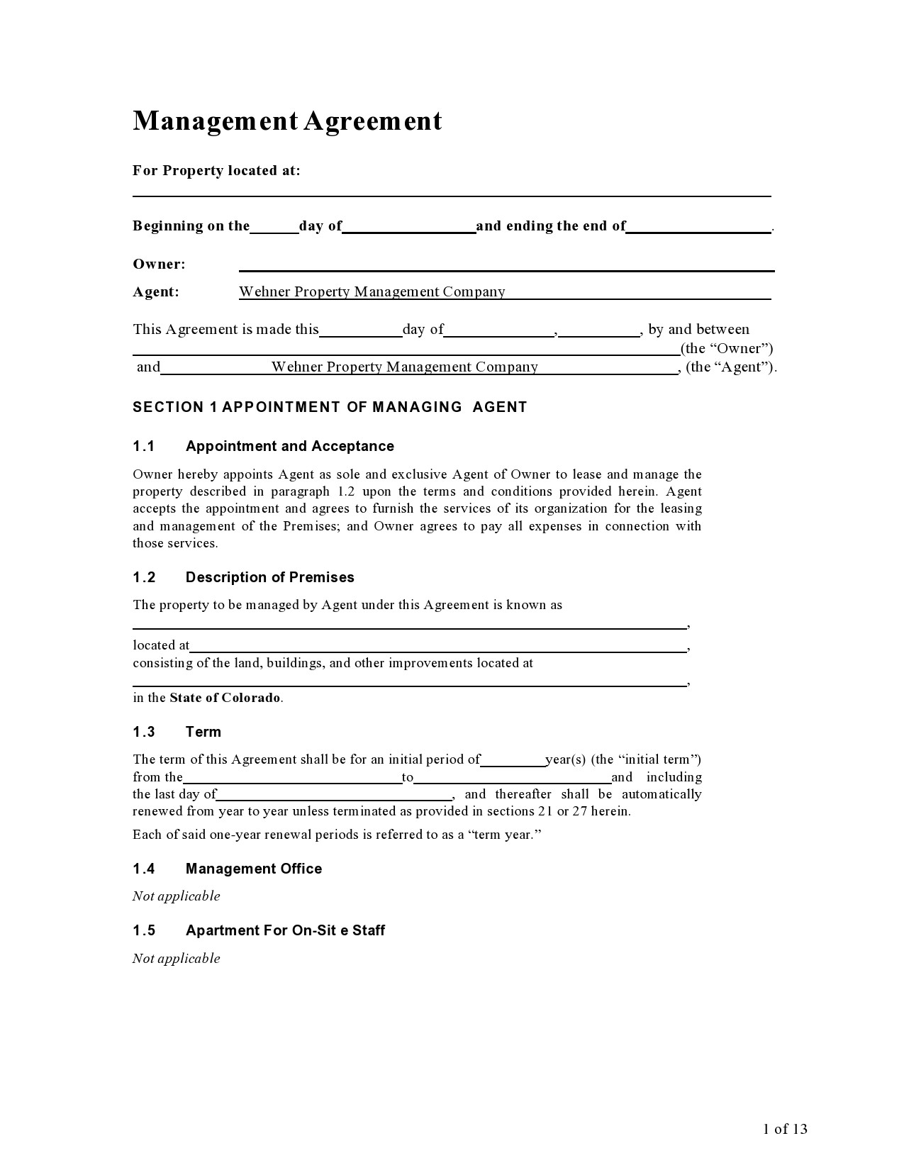 Free property management agreement 11