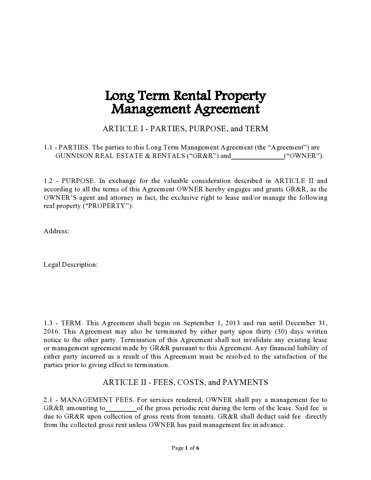Free property management agreement 13