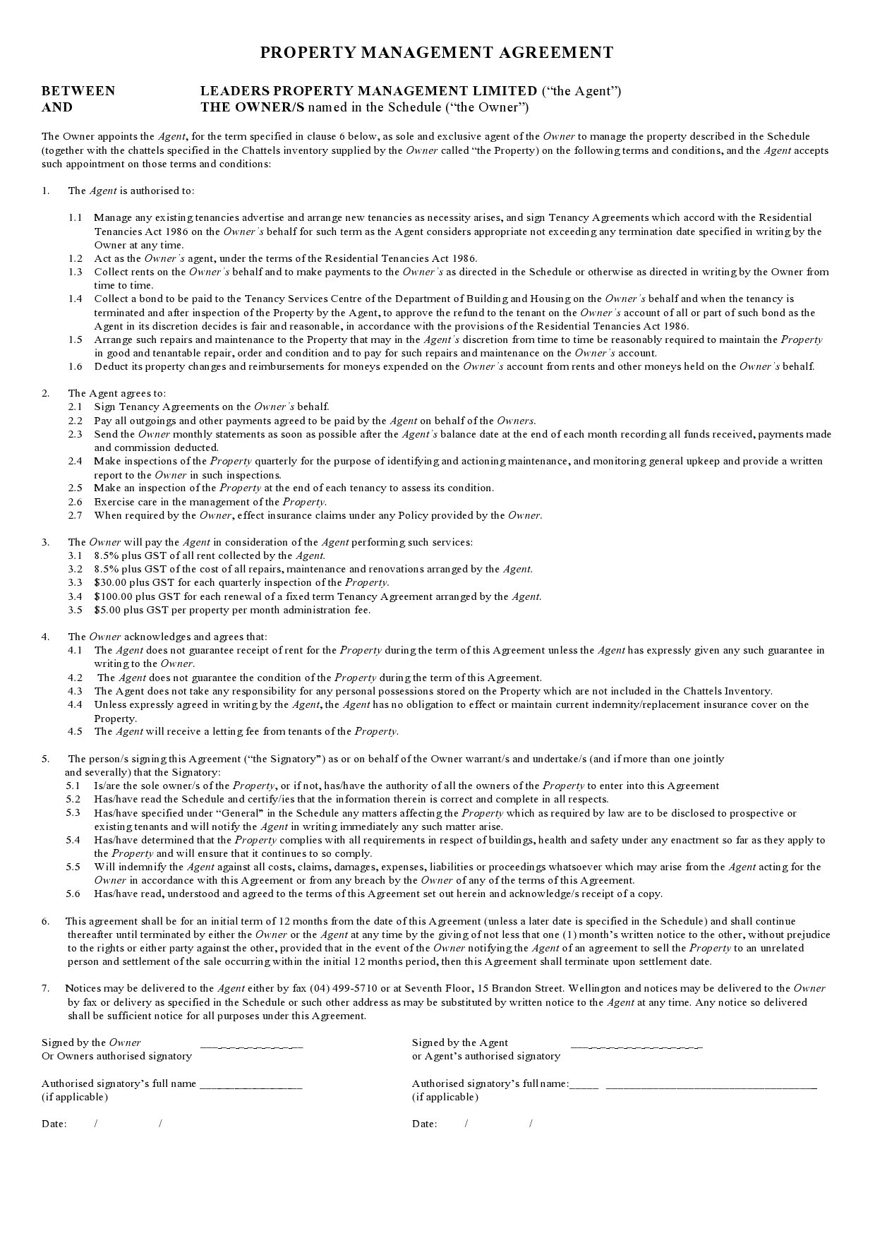 Free property management agreement 14