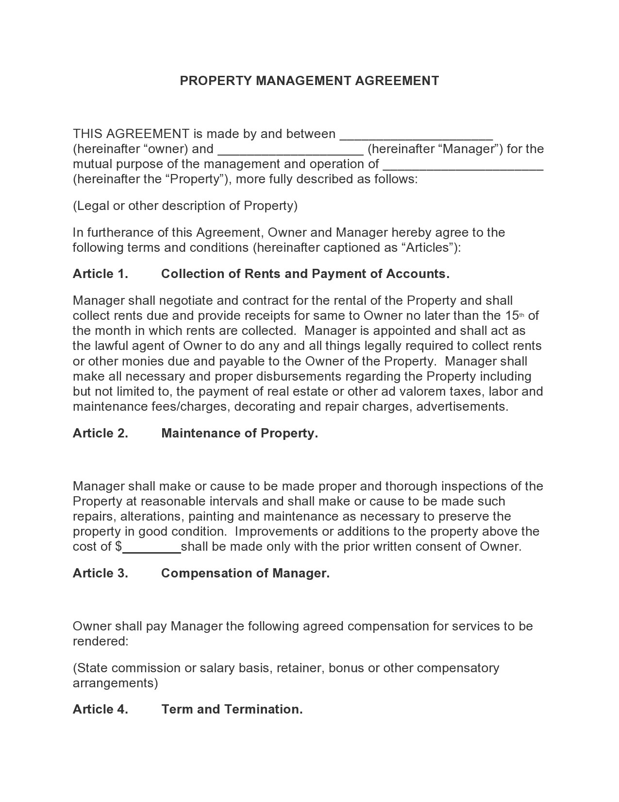 Free property management agreement 17
