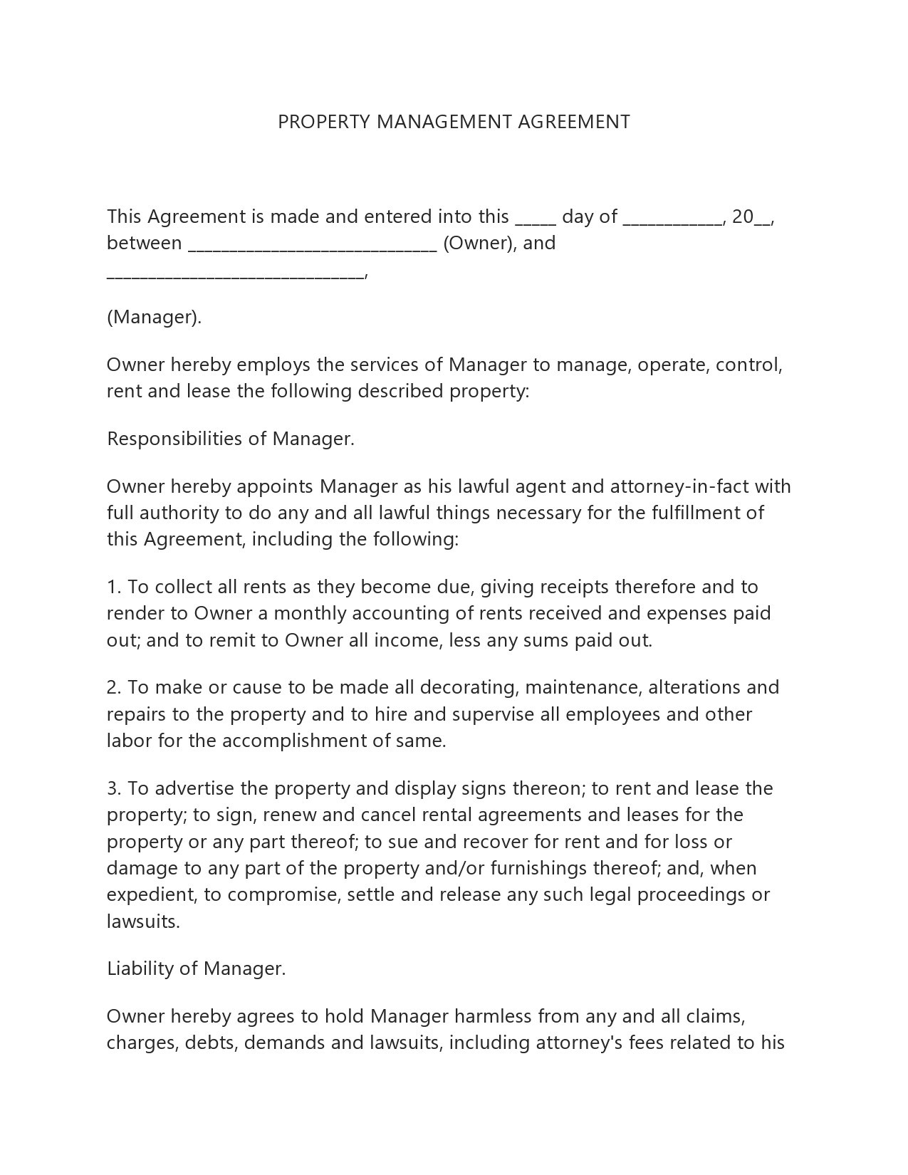 Free property management agreement 18