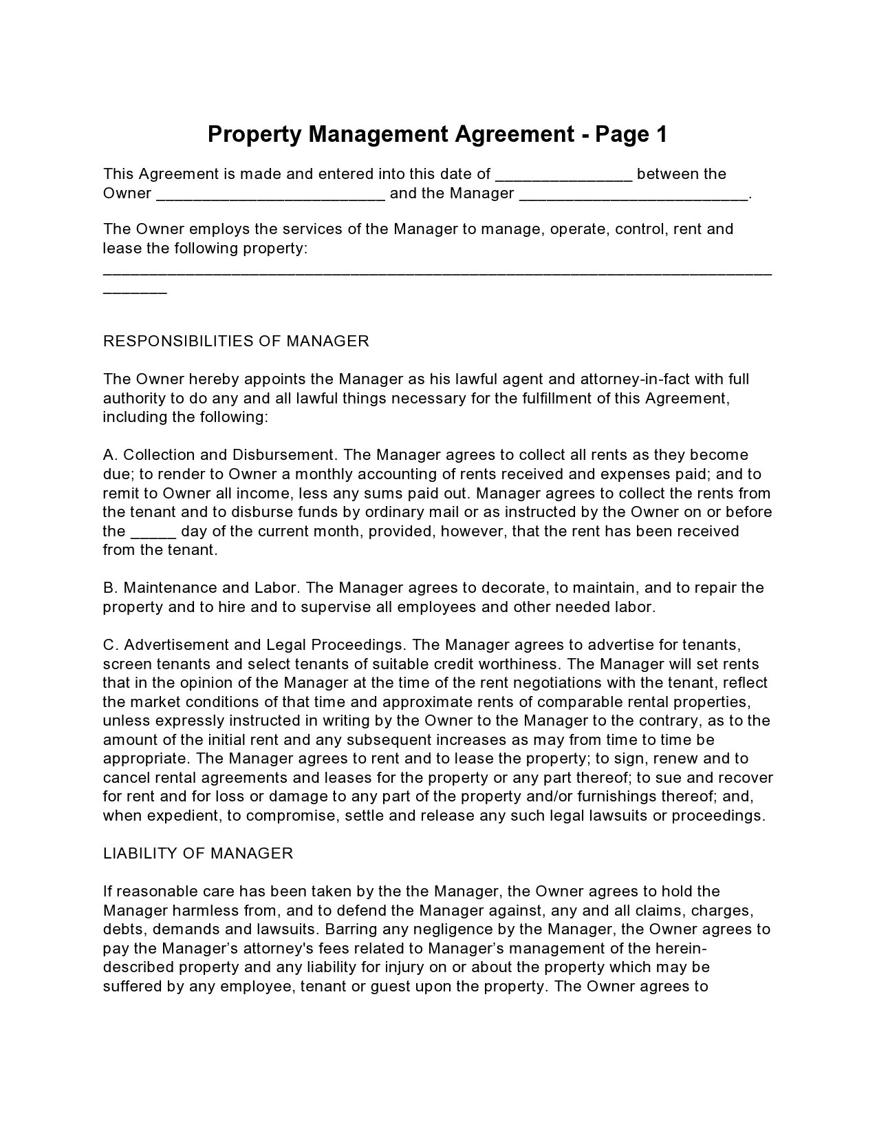 Free property management agreement 19