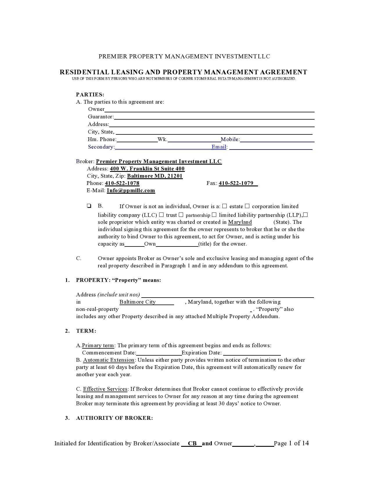 Free property management agreement 22