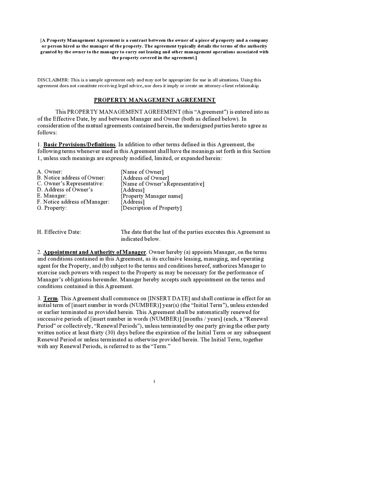 Free property management agreement 26