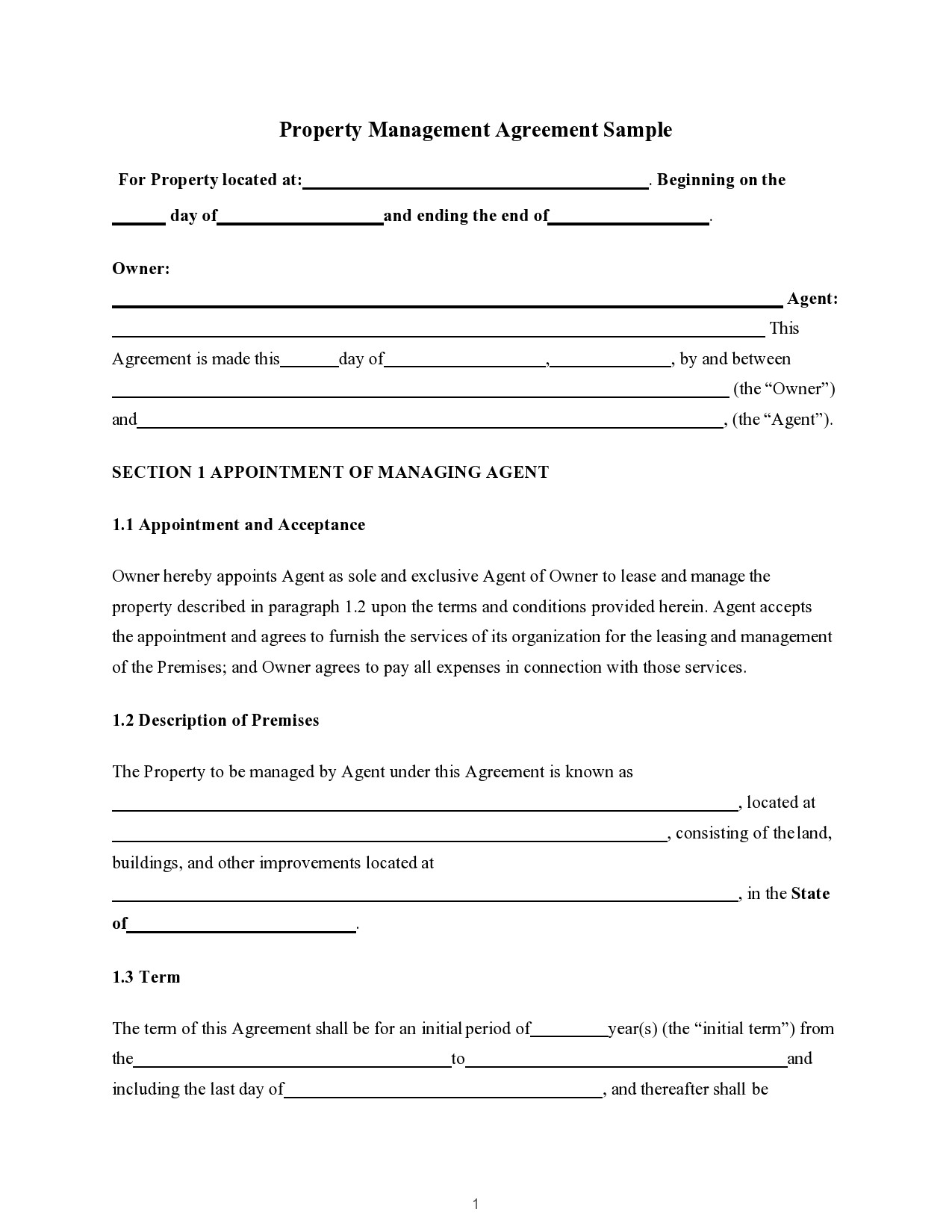 Free property management agreement 28