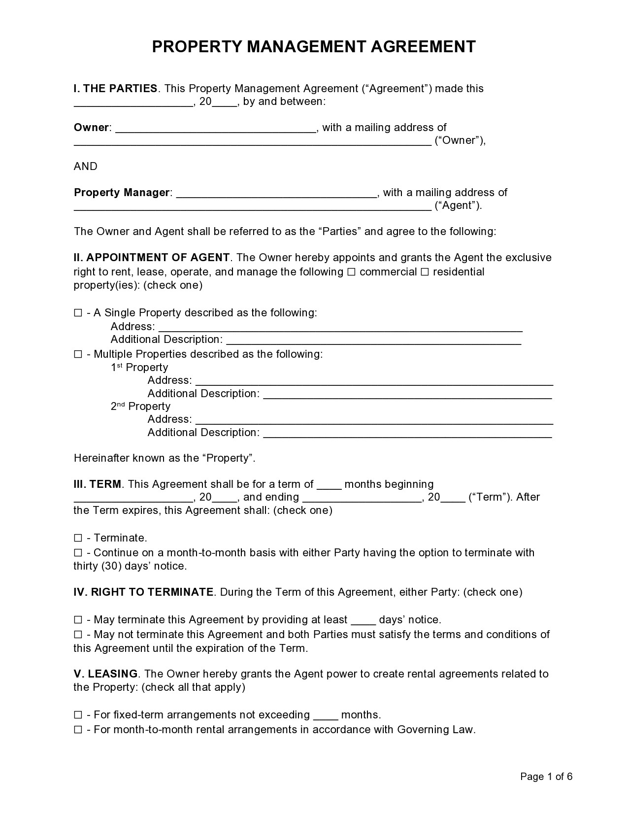 Free property management agreement 30