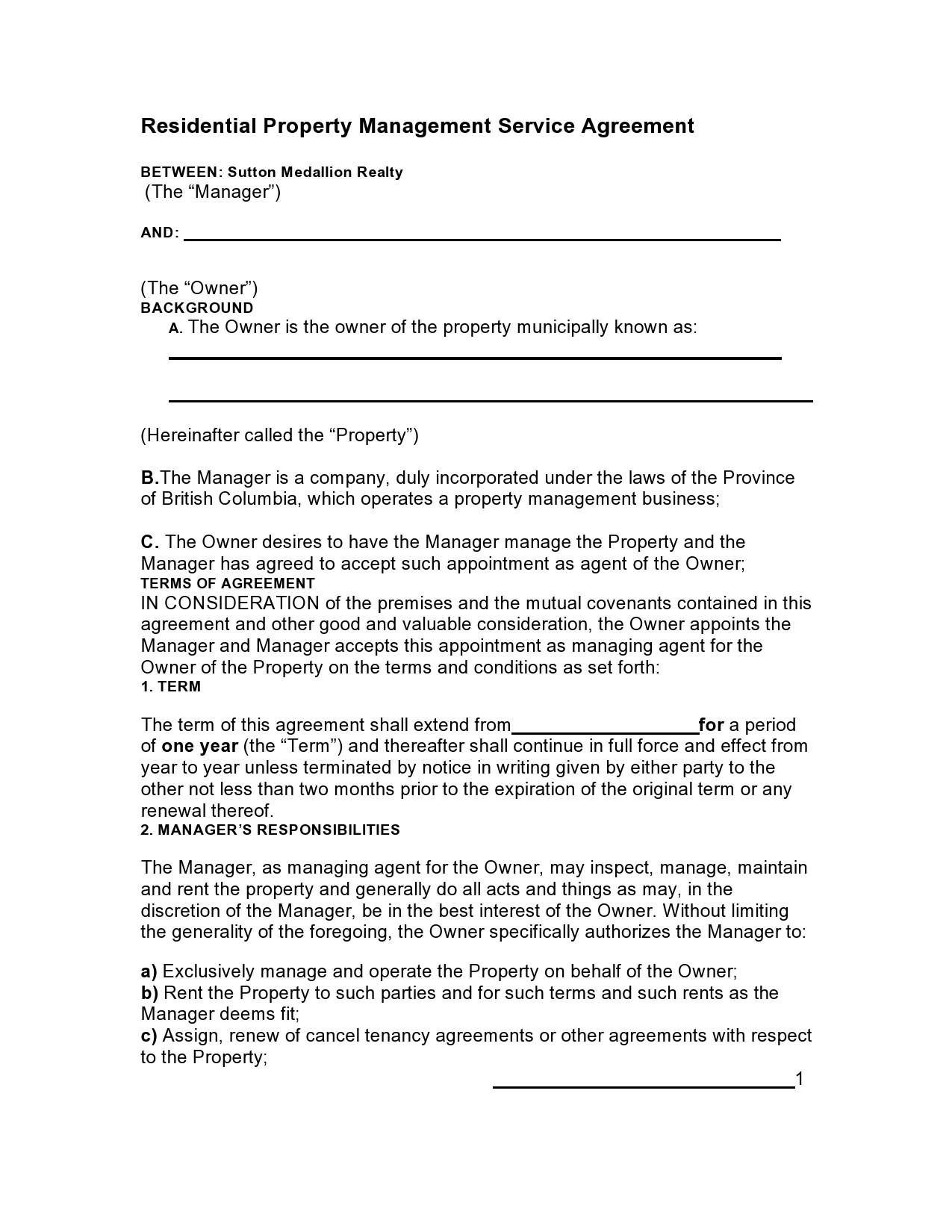 Free property management agreement 31
