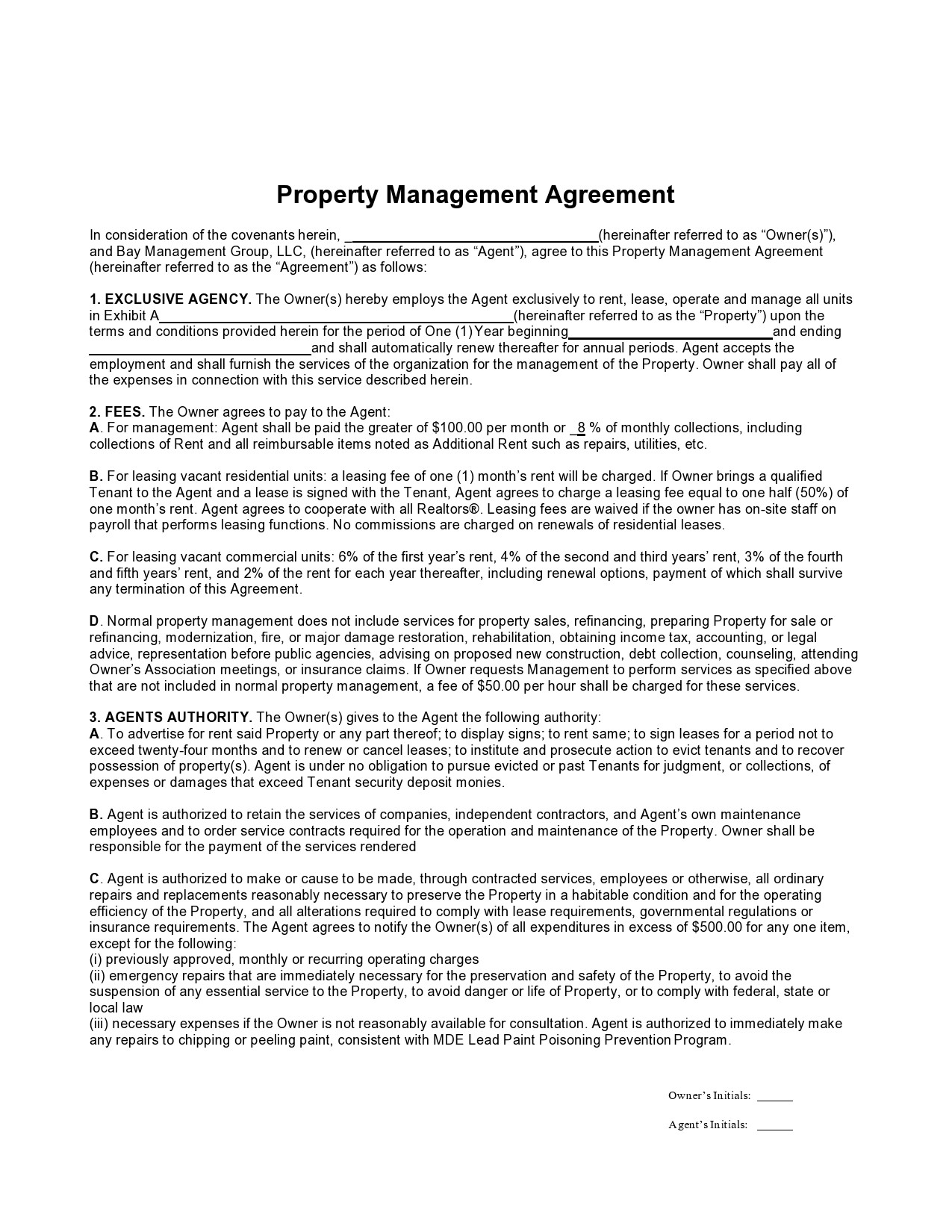 Free property management agreement 32