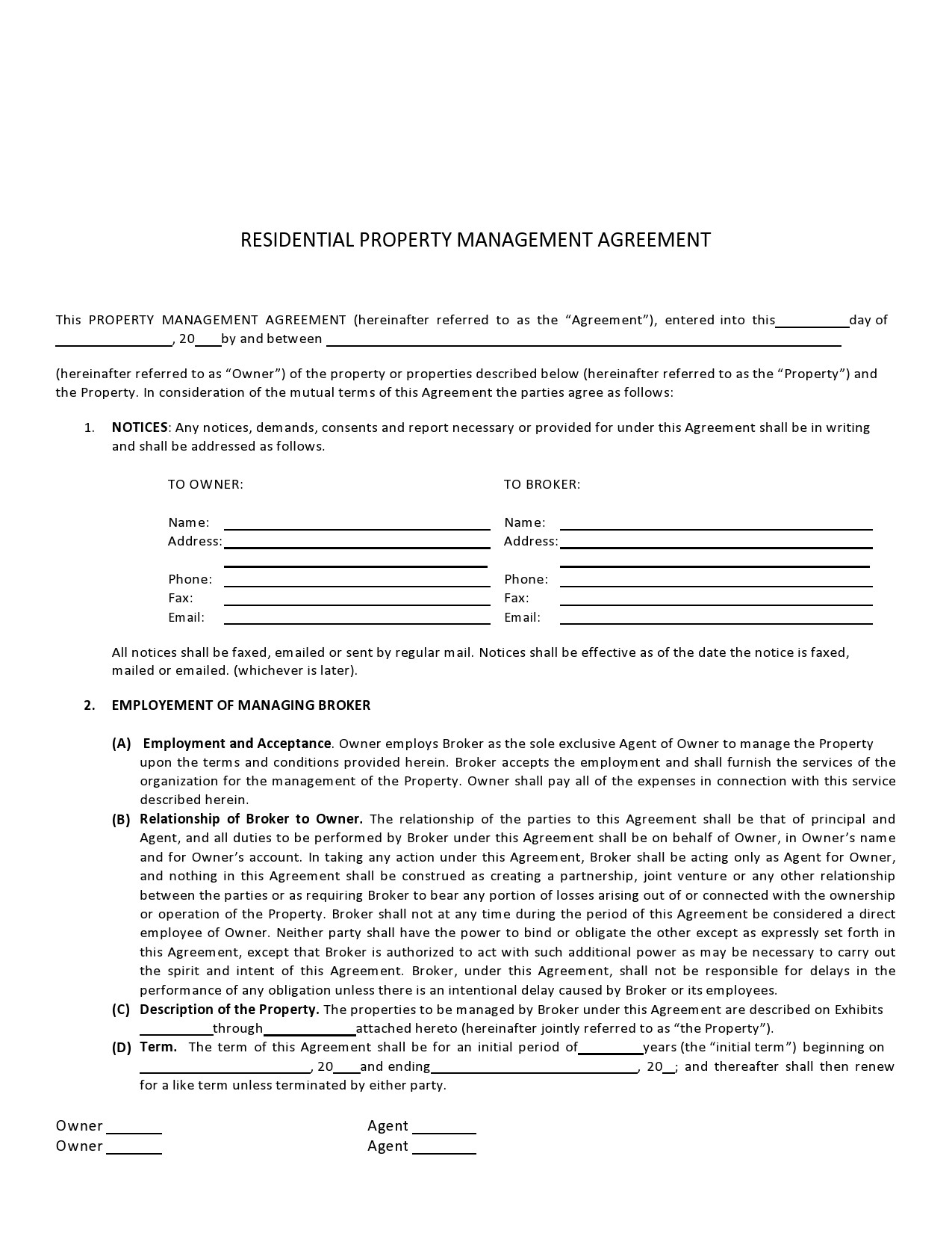 Free property management agreement 33