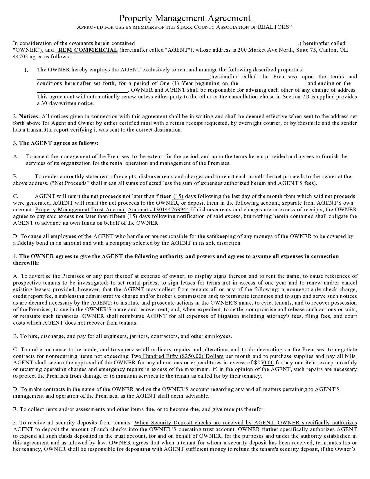 Property Management Agreements