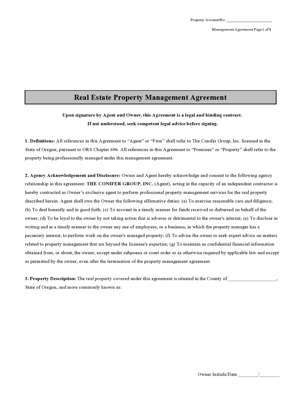 Free property management agreement 35