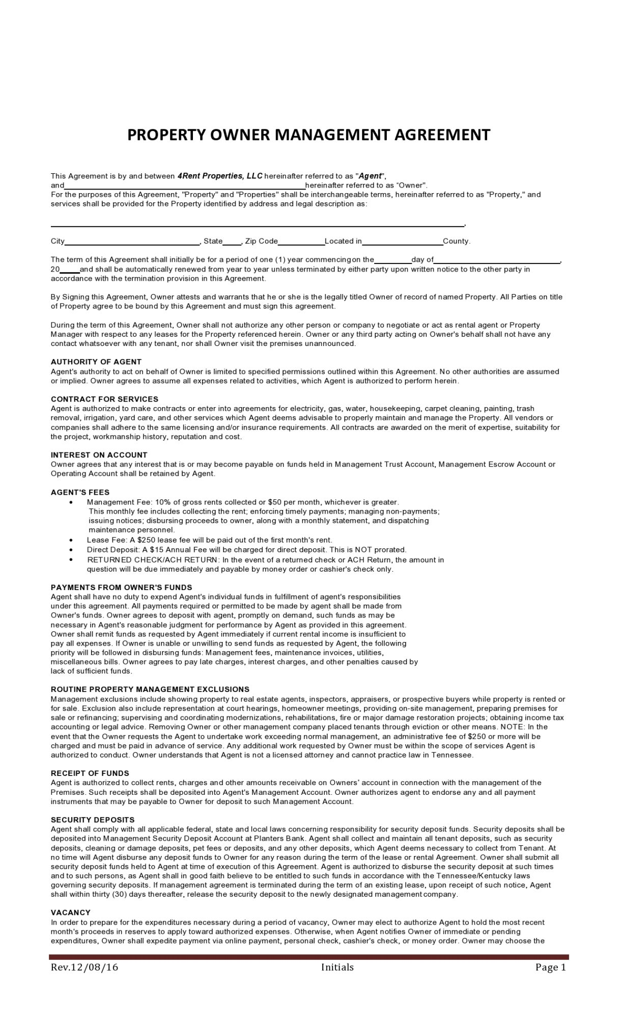 Free property management agreement 36
