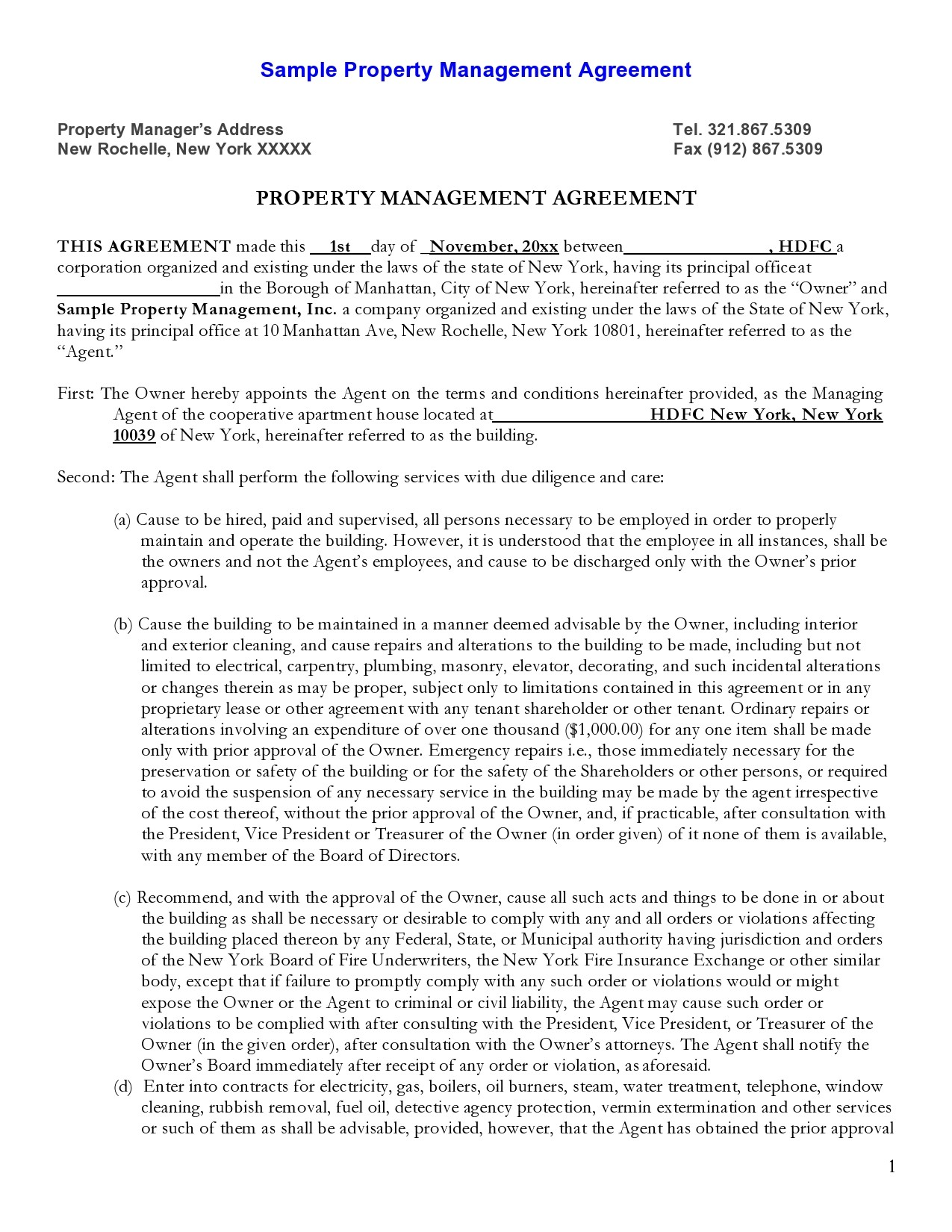Free property management agreement 37