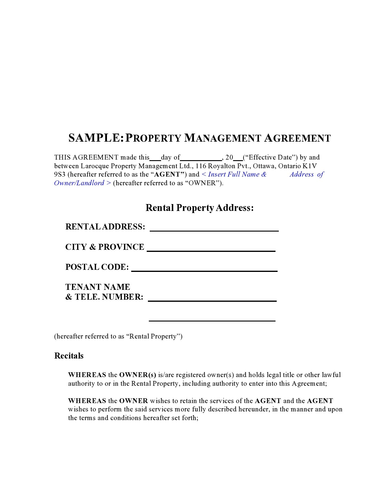 Free property management agreement 38