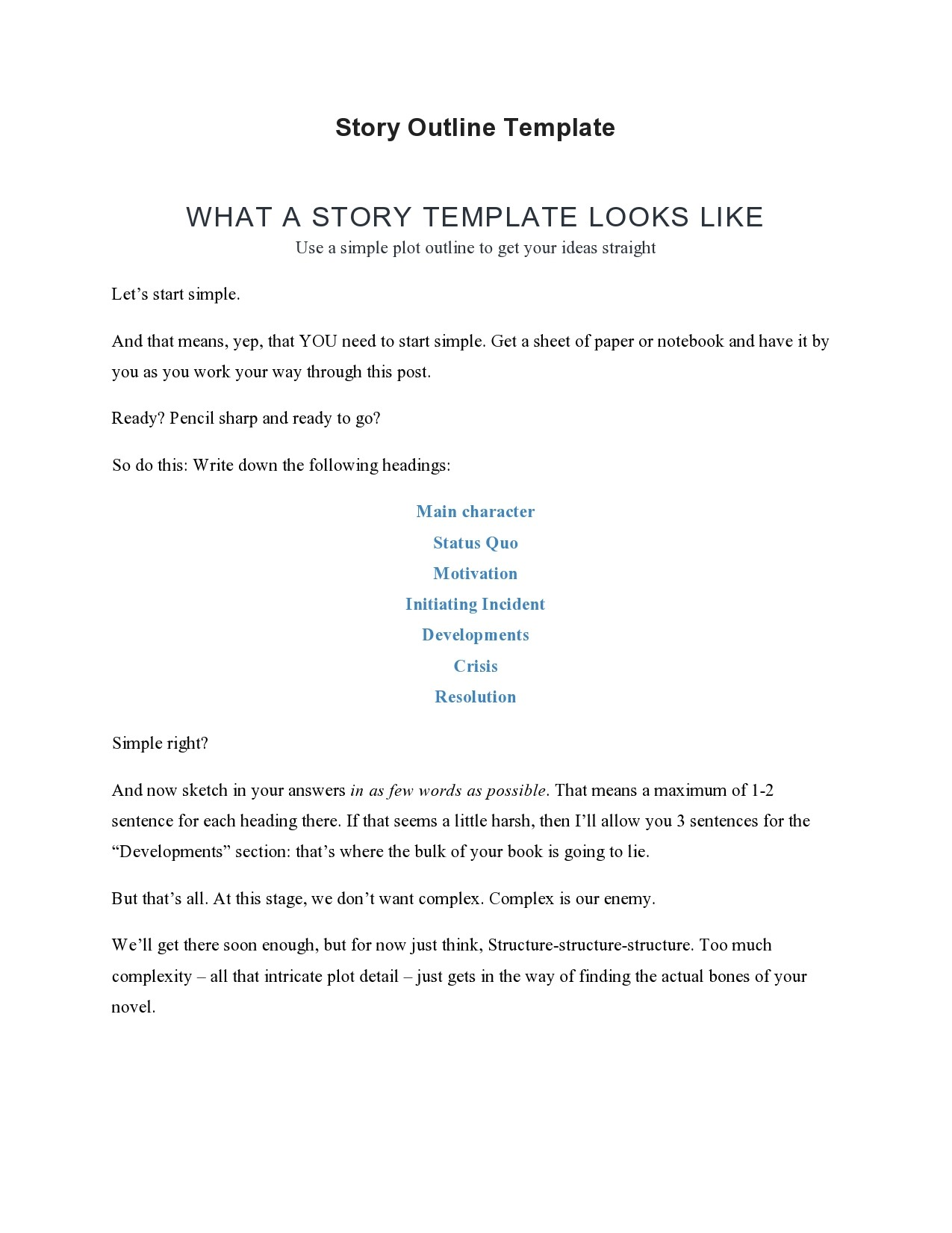 Free story outline template 01
