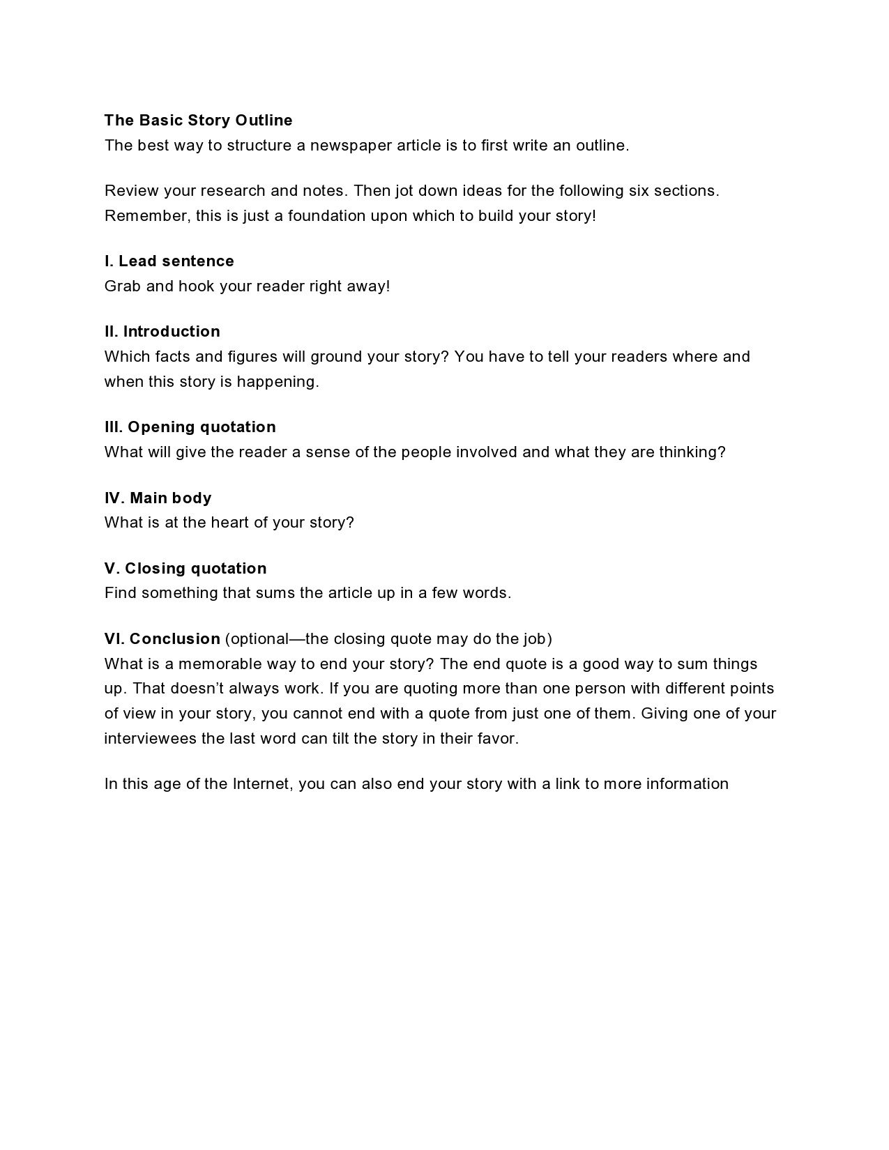 Free story outline template 07