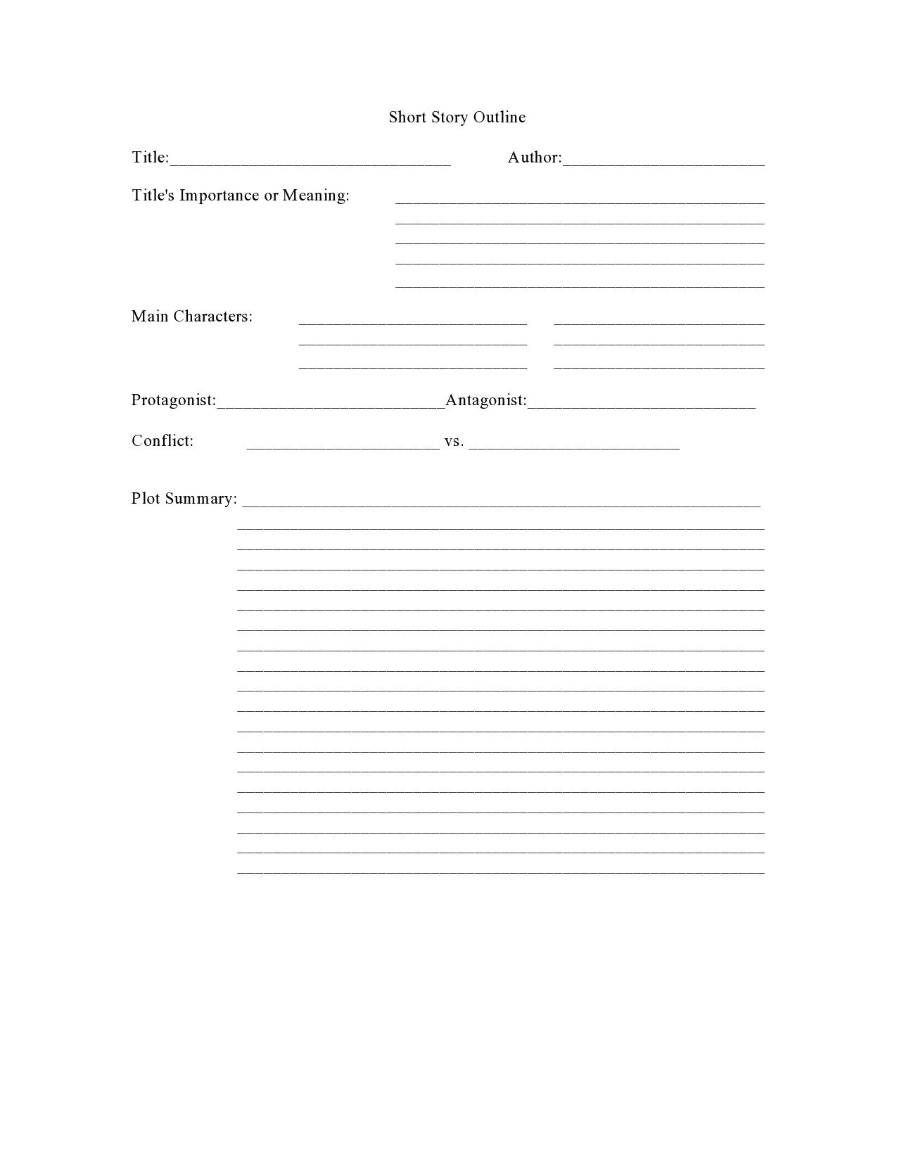 Free story outline template 21