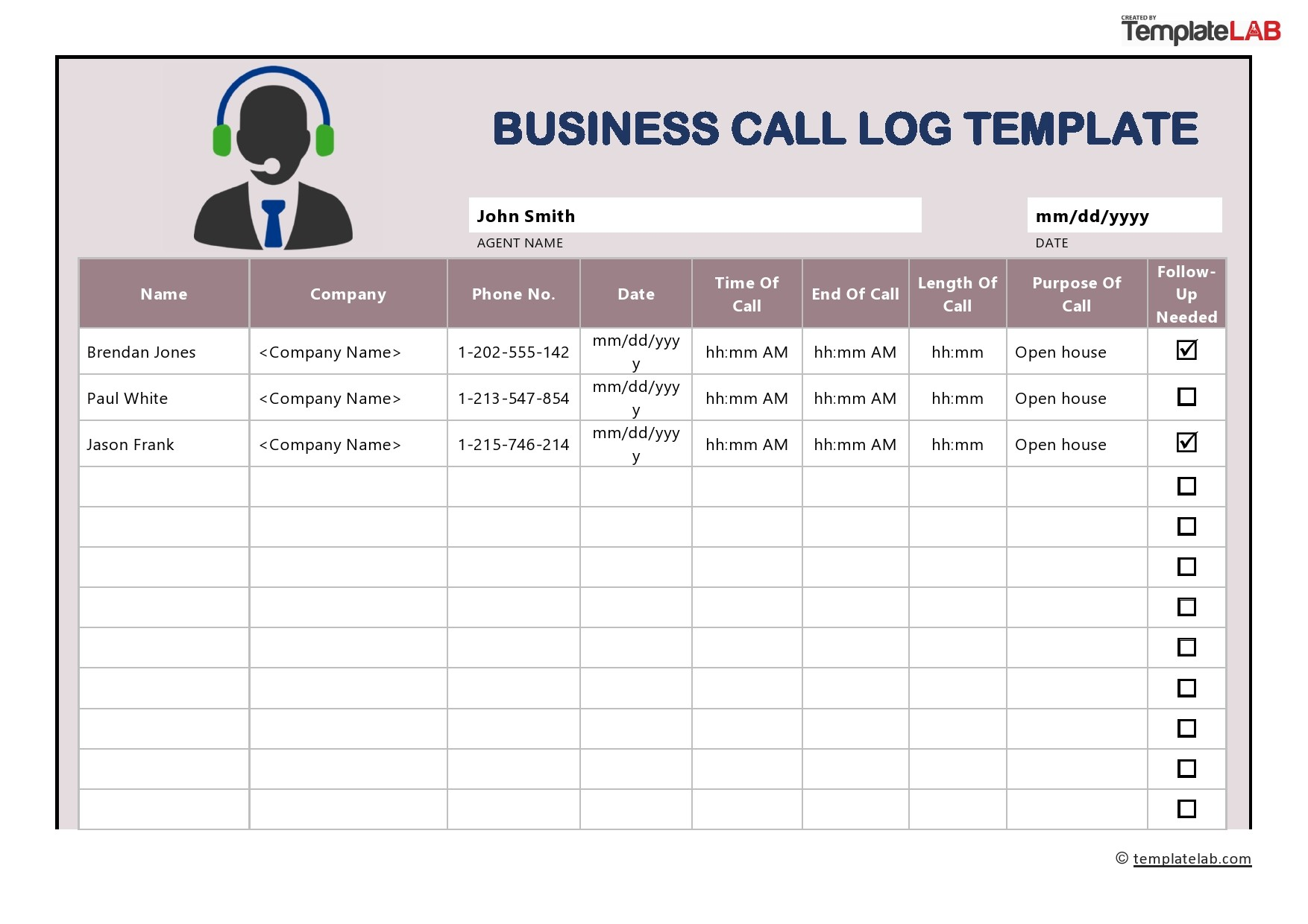 Free Business Call Log Template