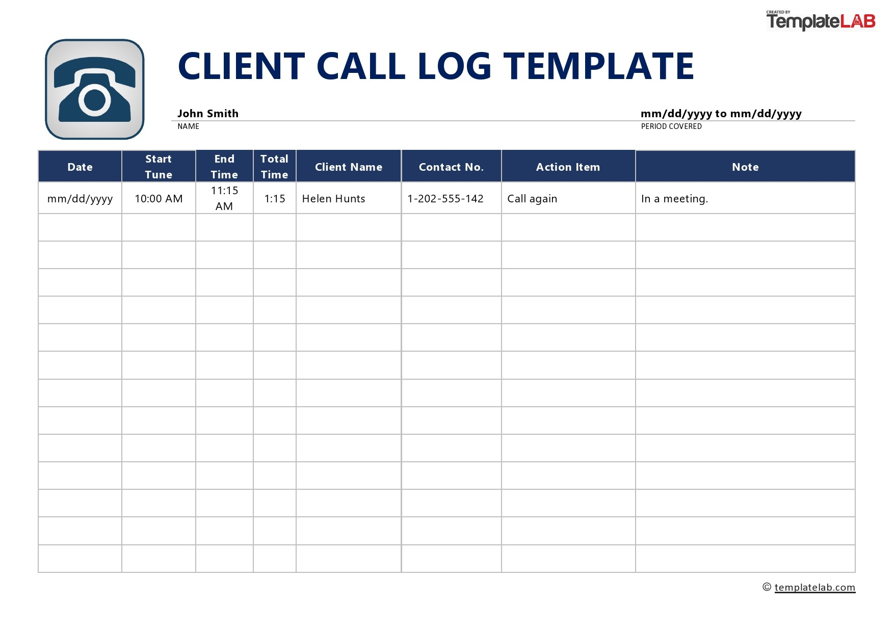This is a graphic of Printable Call Log Template with volunteer log