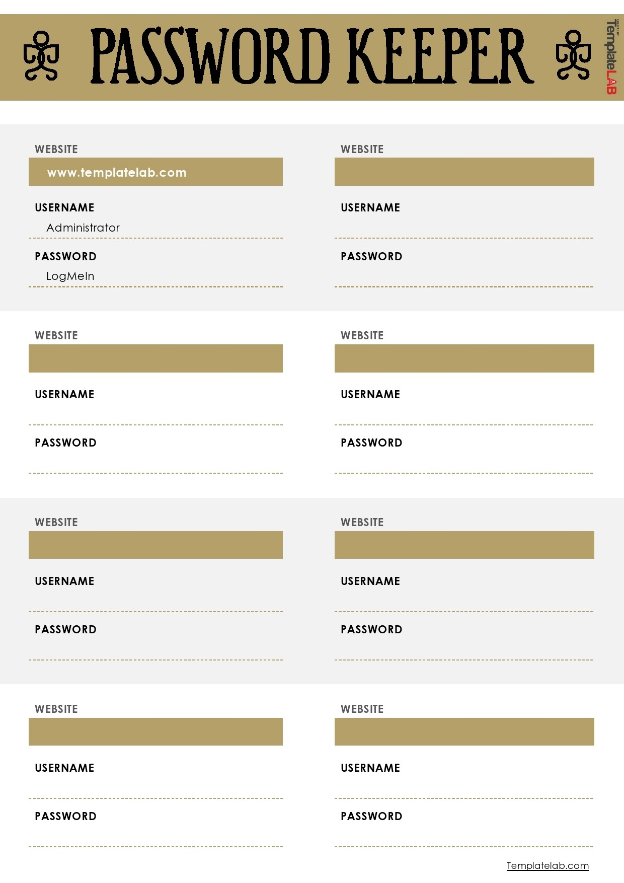 Free Password Keeper Template 01