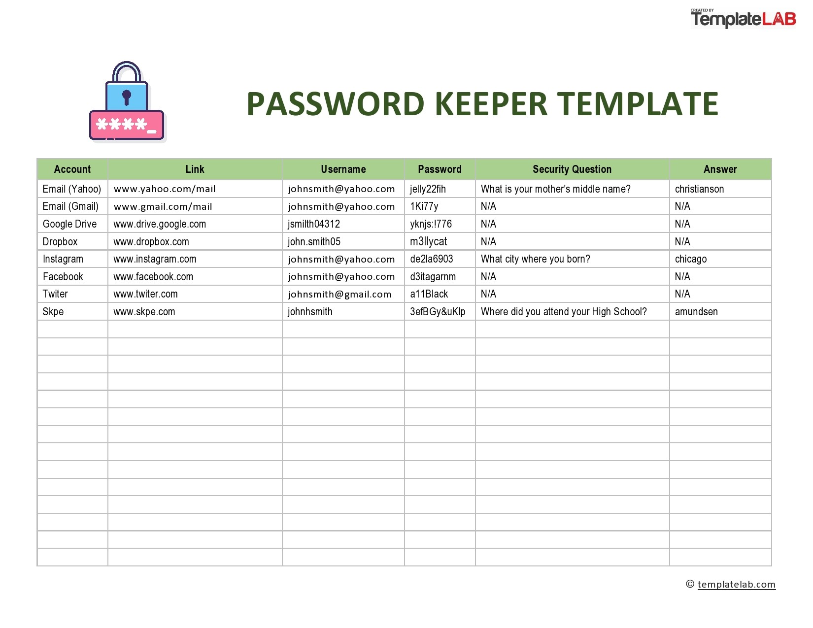 Free Password Keeper Template