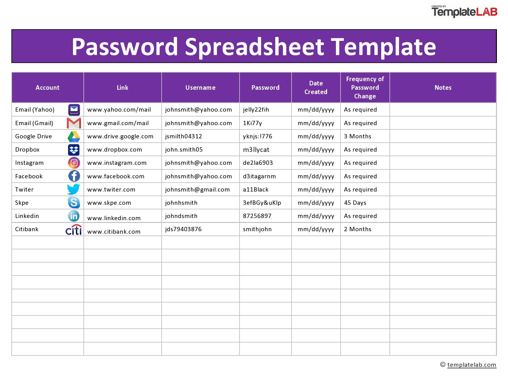 Free Password Spreadsheet Template