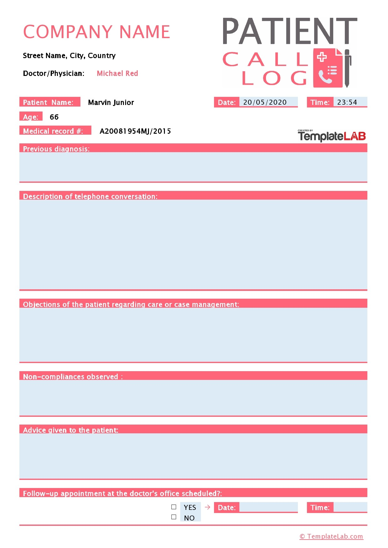 Free Patient Call Log Template 01