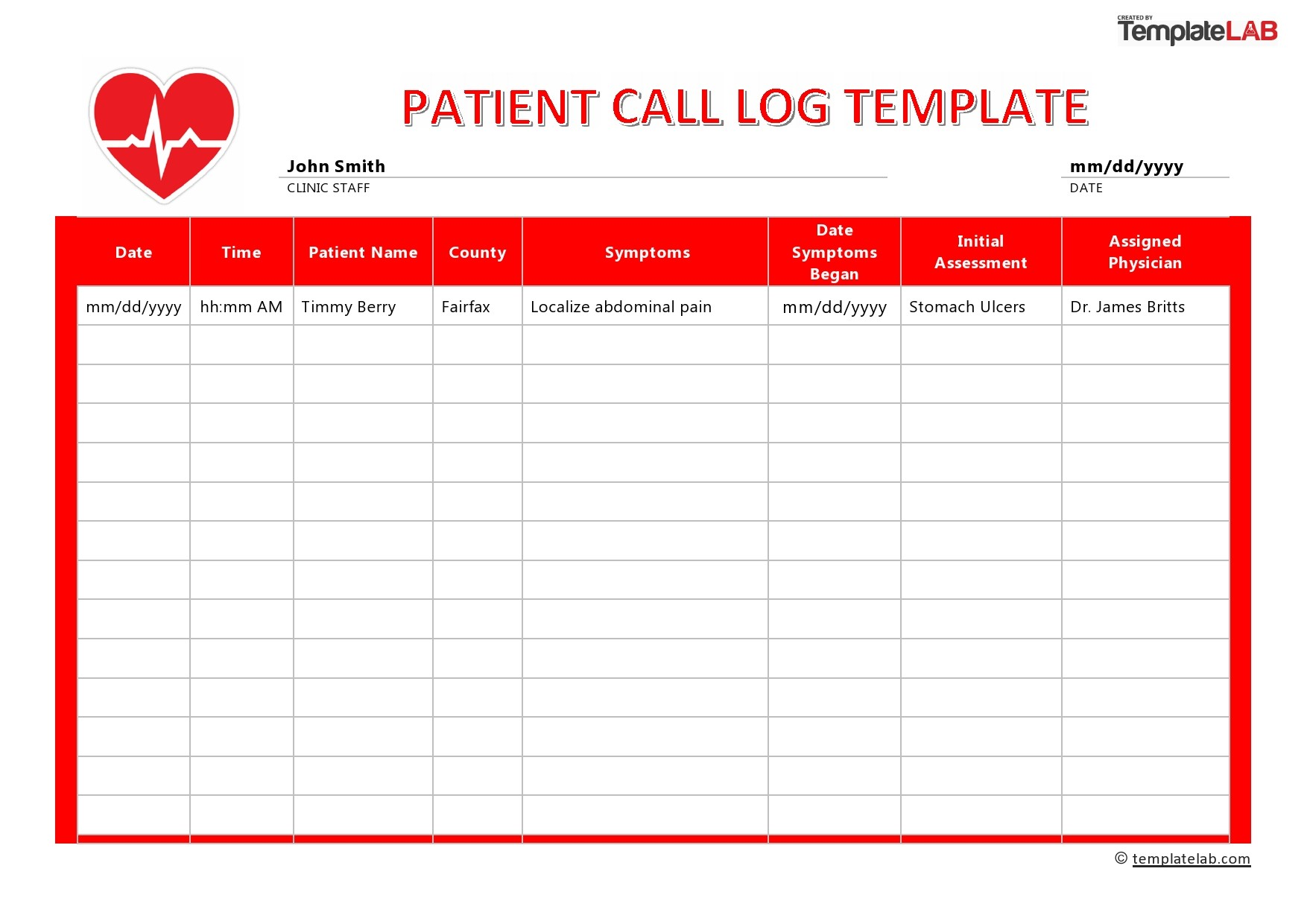 Free Patient Call Log Template